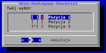 Okno dialogowe checklist utworzone w BASH-u za pomocą polecenia dialog