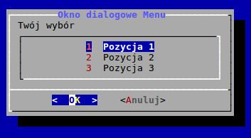 Widok okna dialogowego menu utworzonego w BASH-u za pomocą polecenia dialog