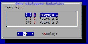 Okno dialogowe radiolist utworzone w BASH-u za pomocą polecenia dialog