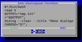 Okno dialogowe textbox utworzone w BASH-u za pomocą polecenia dialog