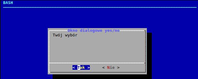 Okno dialogowe w BASH-u utworzone za pomocą polecenia dialog