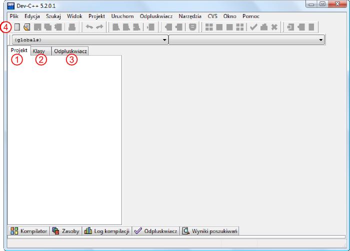 Okno programu Dev C++