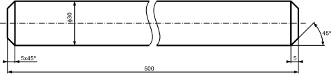 Przykład dwóch wariantów wymiarowania krótkich powierzchni stożkowych.