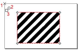 Widok przykładowej edycji uchwytów sterujących położeniem, obrotem i skalą deseniu w Inkscap-ie