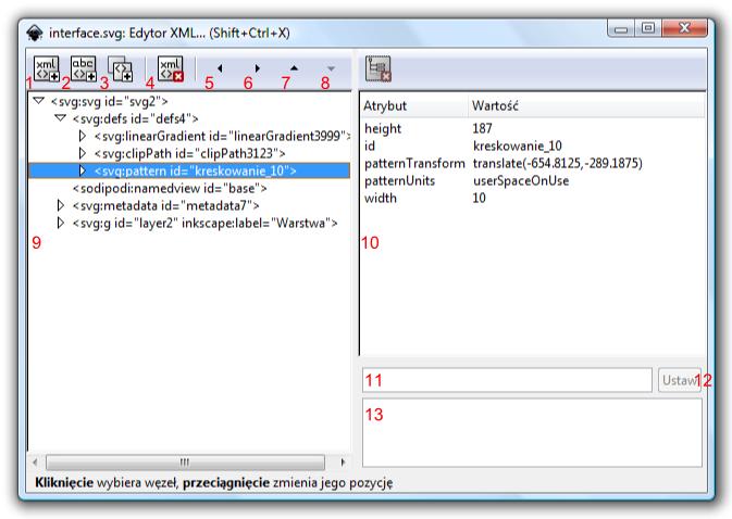 Widok okna Edytor XML w programie Inkscape