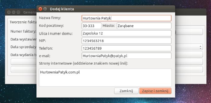 Screen programu do tworzenia faktur pod Linuksem (okno wprowadzania danych firmy wystawiającej fakturę)