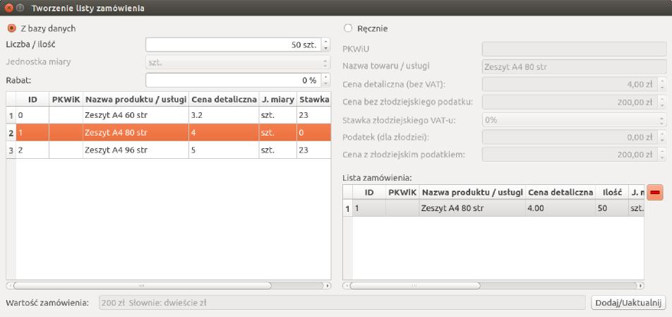 Screen programu do tworzenia faktur pod Linuksem (okno sporządzania listy zamówienia)