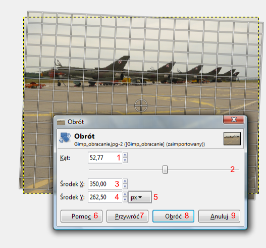 Widok programu Gimp w trybie modyfikacji kąta obrotu zdjęcia narzędziem Obracanie