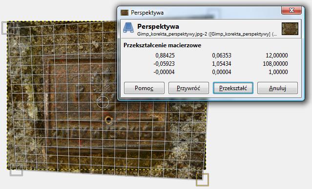 Widok pokazujący użycie narzędzia Perspektywa w programie Gimp