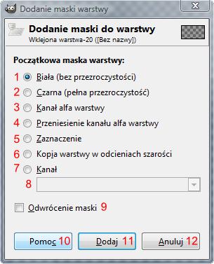 Gimp - okno Dodawanie maski warstwy
