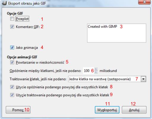 Gimp - okno Eksport obrazu jako GIF