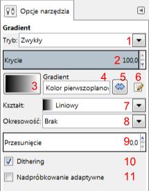 Gimp - opcje narzędzia gradient