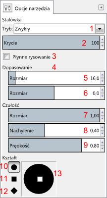 Gimp - opcje narzędzia stalówka