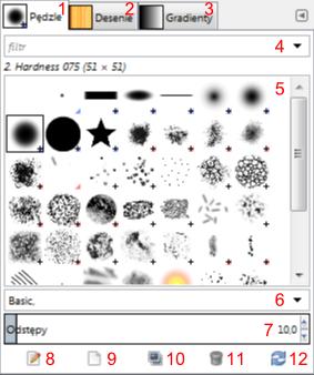 Część okna Warstwy - pędzle programu Gimp zawierająca zakładki z pędzlami, deseniami i gradientami