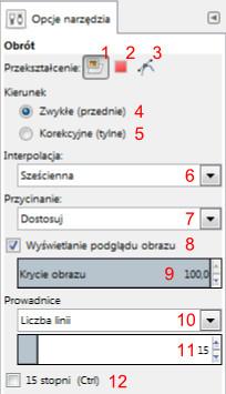 Widok interfejsu ustawień narzędzi przekształcania w Gimp-ie