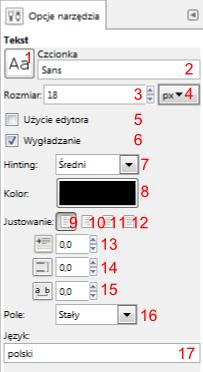 Gimp - ustawienia narzędzia tworzenia i modyfikacji warstwy tekstu