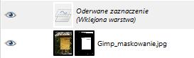 Gimp - widok listy warstw zawierającej warstwę oderwaną
