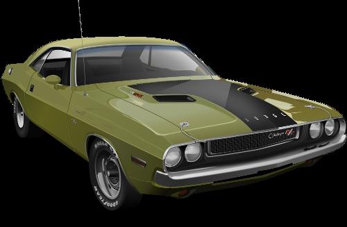 Przykład grafiki powstałej w Inkscap-ie Dodge-a Challenger-a z 1970 r na podstawie zdjęcia
