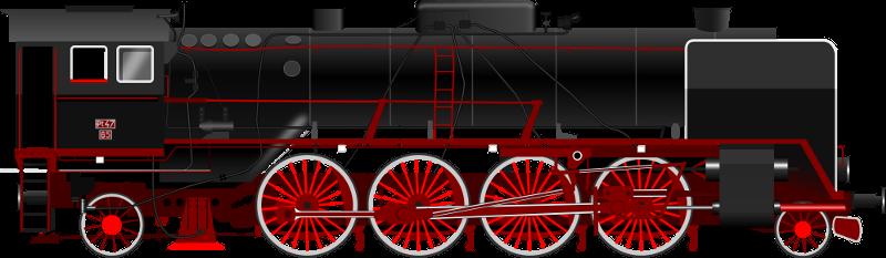 Przykład rysunku parowozu Pt 47 wykonanego w Inkscap-ie
