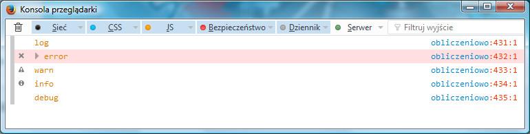Różne typy komunikatów w konsoli przeglądarki Firefox
