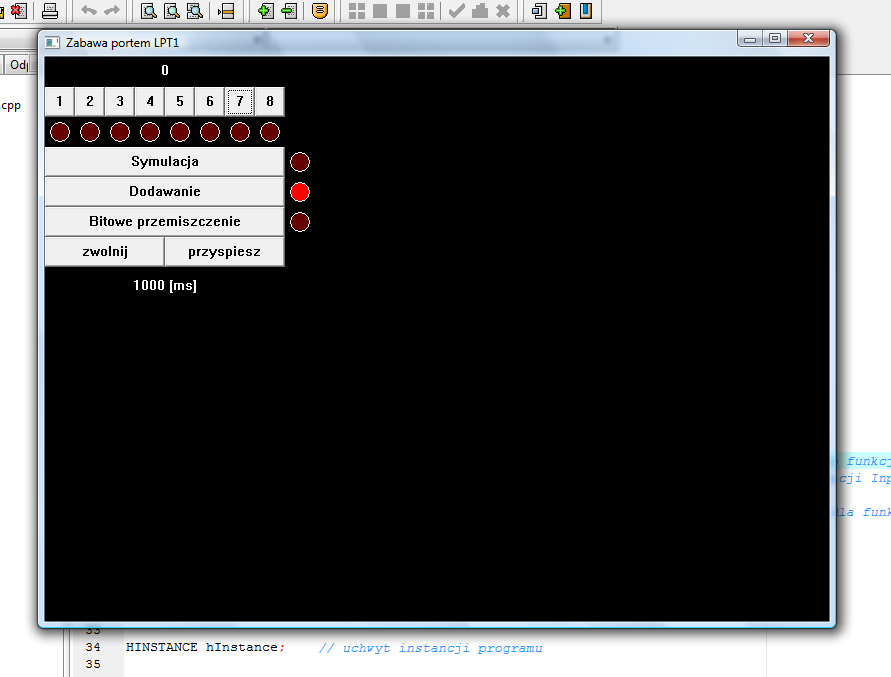 Screen programu sterującego portem LPT1.