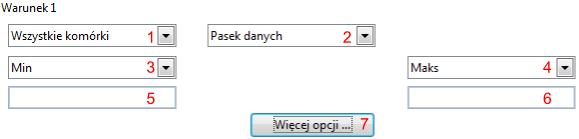 Wycinek okna Formatowanie warunkowe dla opcji Pasek danych w programie Calc pakietu LibreOffice