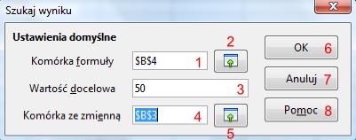 Okno Szukaj wyniku programu Calc pakietu LibreOffice
