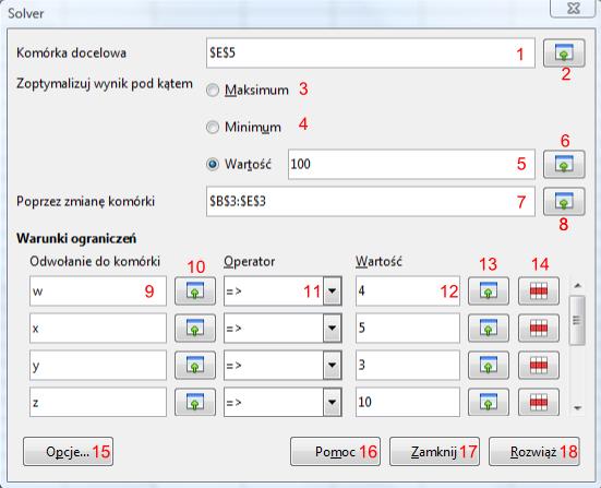 Okno narzędzia Solver programu Calc pakietu LibreOffice