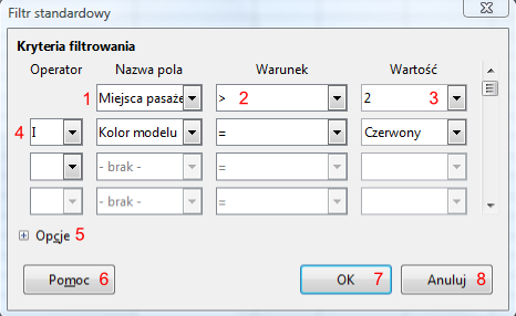 Okno Filtr standardowy programu Calc pakietu LibreOffice