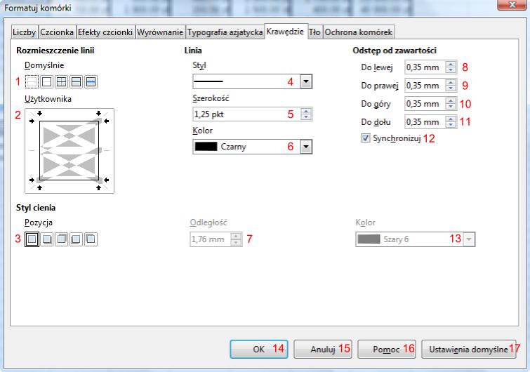 Widok zakładki Krawędzie okna Formatuj komórki programu Calc pakietu LibreOffice