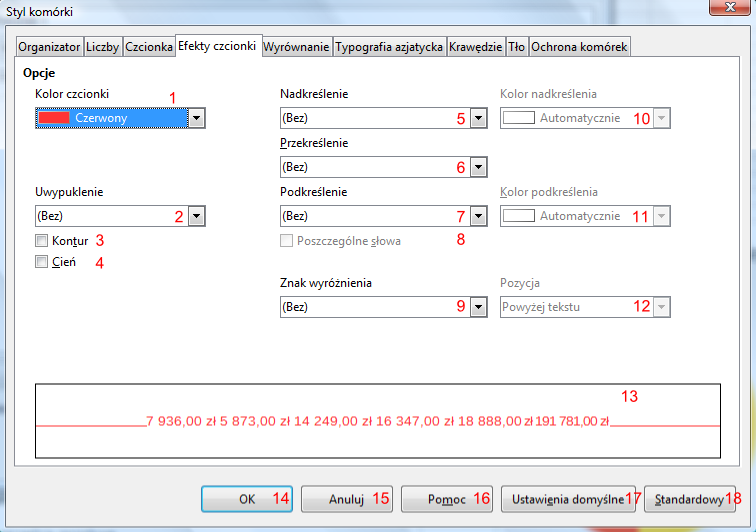 Okno Styl komórki programu Calc pakietu LibreOffice
