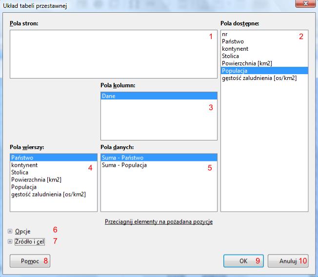 Okno Układ tabeli przestawnej programu Calc pakietu LibreOffice