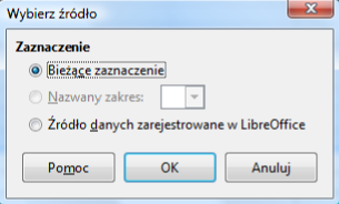 Widok okna Wybierz źródło programu Calc pakietu LibreOffice