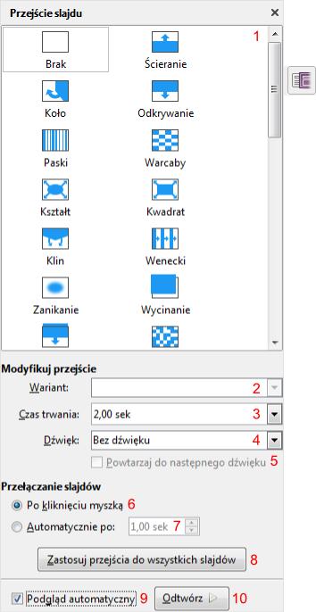 Okno Przejście slajdu w programie Impress pakietu LibreOffice