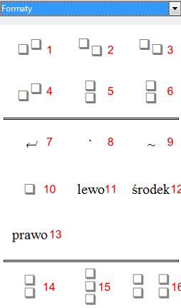 Widok części okna Elementy programu Math pakietu LibreOffice odpowiedzialnego za formatowanie rozmieszczenia elementów wyrażenia