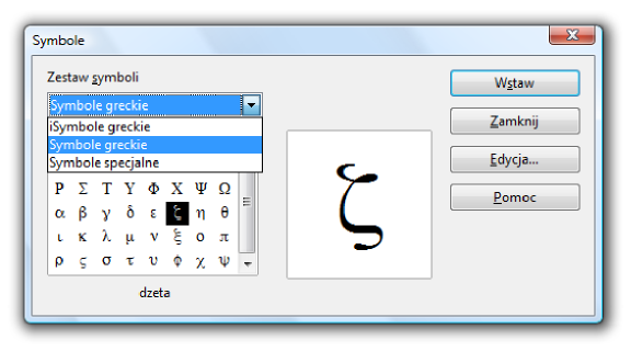 Okno Symbole programu Math pakietu LibreOffice