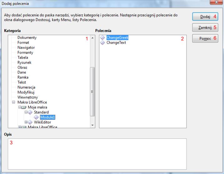Widok okna Dodaj polecenia programu Writer pakietu LibreoOffice