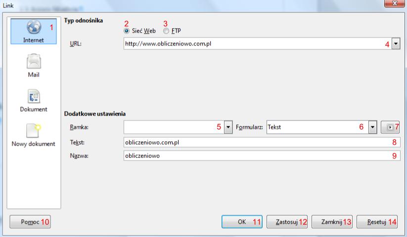 Widok okna Link w programie Writer pakietu LibreOffice