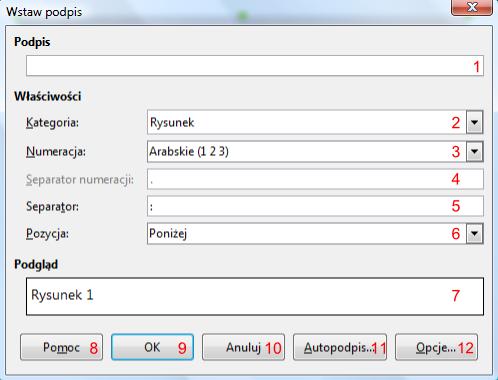 Widok okna Wstaw podpis w programie Writer pakietu LibreOffice