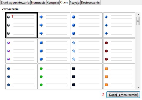 Widok zakładki Obraz okna Wypunktowanie i numeracja programu Writer pakietu LibreOffice
