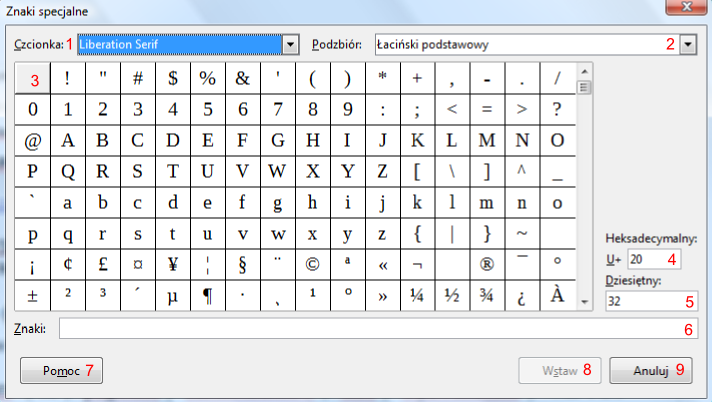 Widok okna Znaki specjalne programu Writer pakietu LibreOffice