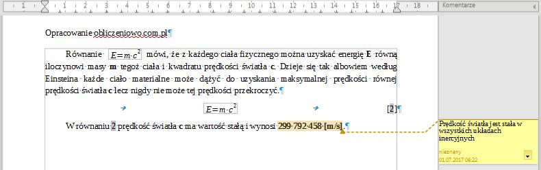 Przykład użycia komentarza w programie Writer pakietu LibreOffice