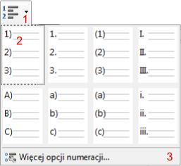 Widok listy rozwijanej dostępnych podstawowych formatów listy numerowanej w programie Writer pakietu LibreOffice