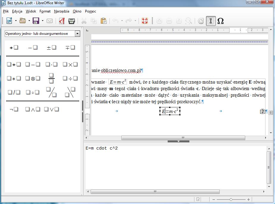 Widok programu Writer pakietu LibreOffice w trybie wstawiania równań matematycznych