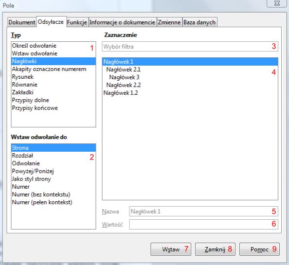 Widok zakładki Odsyłacze okna Pole w programie Writer pakietu LibreOffice