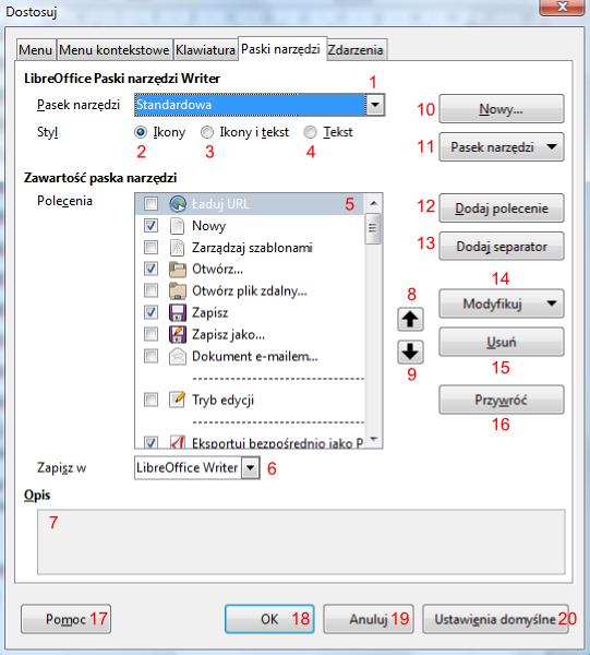 Zakładka Pasek narzędzi okna Dostosuj w programie Writer pakietu LibreOffice