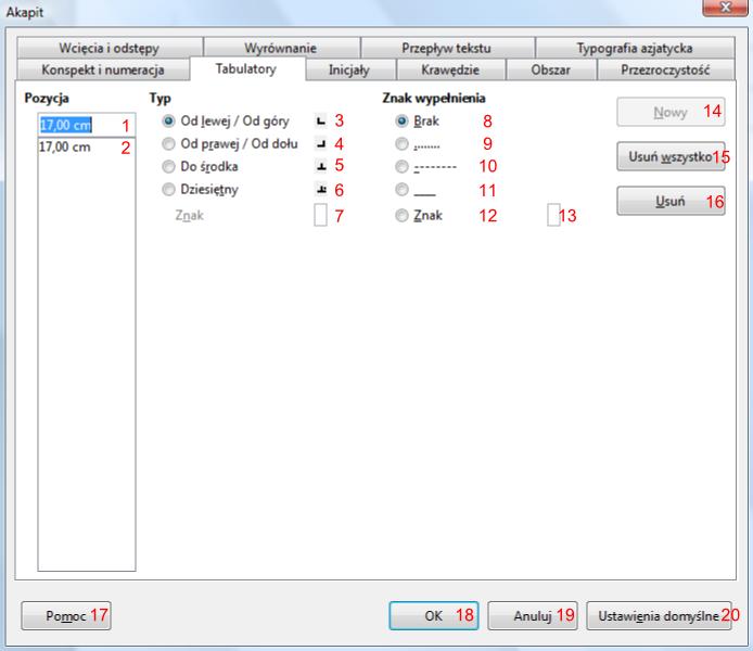 Widok zakładki Tabulatory okna Akapit programu Writer pakietu LibreOffice