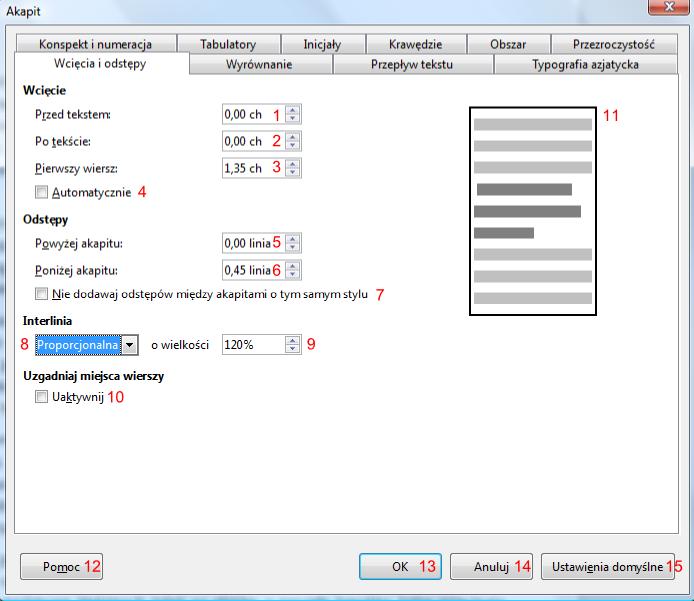 Widok zakładki Wcięcia i odstępy okna Akapit programu Writer pakietu LibreOffice