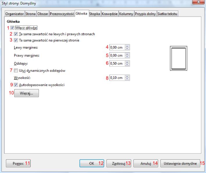 Widok zakładki Główka okna dialogowego Styl strony w programie Writer pakietu LibreOffice