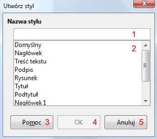 Okno dialogowe Utwórz styl programu Writer pakietu LibreOffice